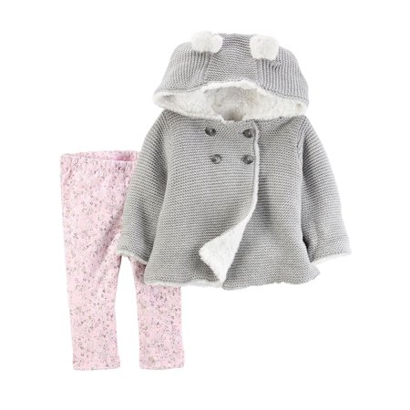 Carters Infant Girls Baby Outfit Gray Hoodie Sweater & Pink Floral Leggings 3m