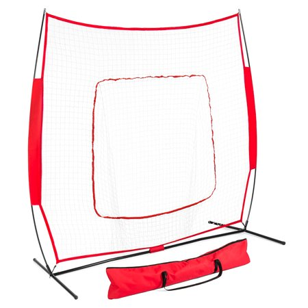 Best Choice Products 7x7ft Baseball Teeball Practice Hitting Net - Red
