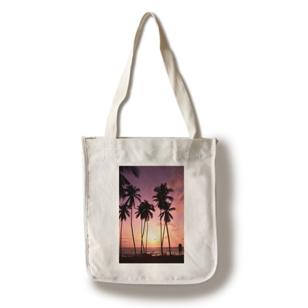 Palm Tree Scene (Beach Scene - Palm Trees & Woman Silhouette at Sunset - Lantern Press Photography (100% Cotton Tote Bag -)