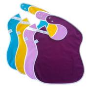 Big Large Waterproof Toddler Bib. Side Snap Buttons. Baby bibs Easily Wipe Clean (Girls 4 Pack)