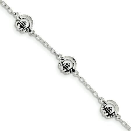 Sterling Silver Claddagh Bracelet - Sterling Silver Claddagh Childs Bracelet