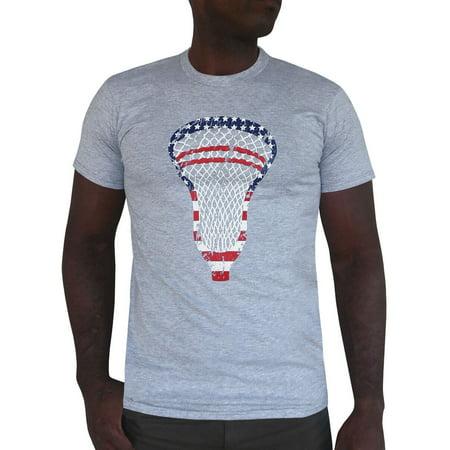 Zone Apparel Lacrosse Men's American Flag T-shirt-USA Lacrosse Head ...