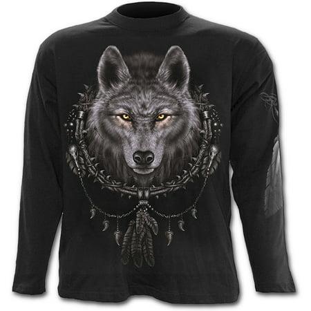 Spiral Direct WOLF DREAMS Cotton Longsleeve T-Shirt BlackWolf |Mystical |Celtic |Native American Native American War Shirts