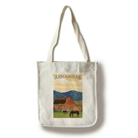 Arkansas - Horses & Barn - Lantern Press Poster (100% Cotton Tote Bag - Reusable)