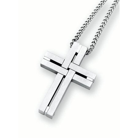 Woven Leather Necklace (Men's Stainless Steel Woven Cross Pendant Necklace,)