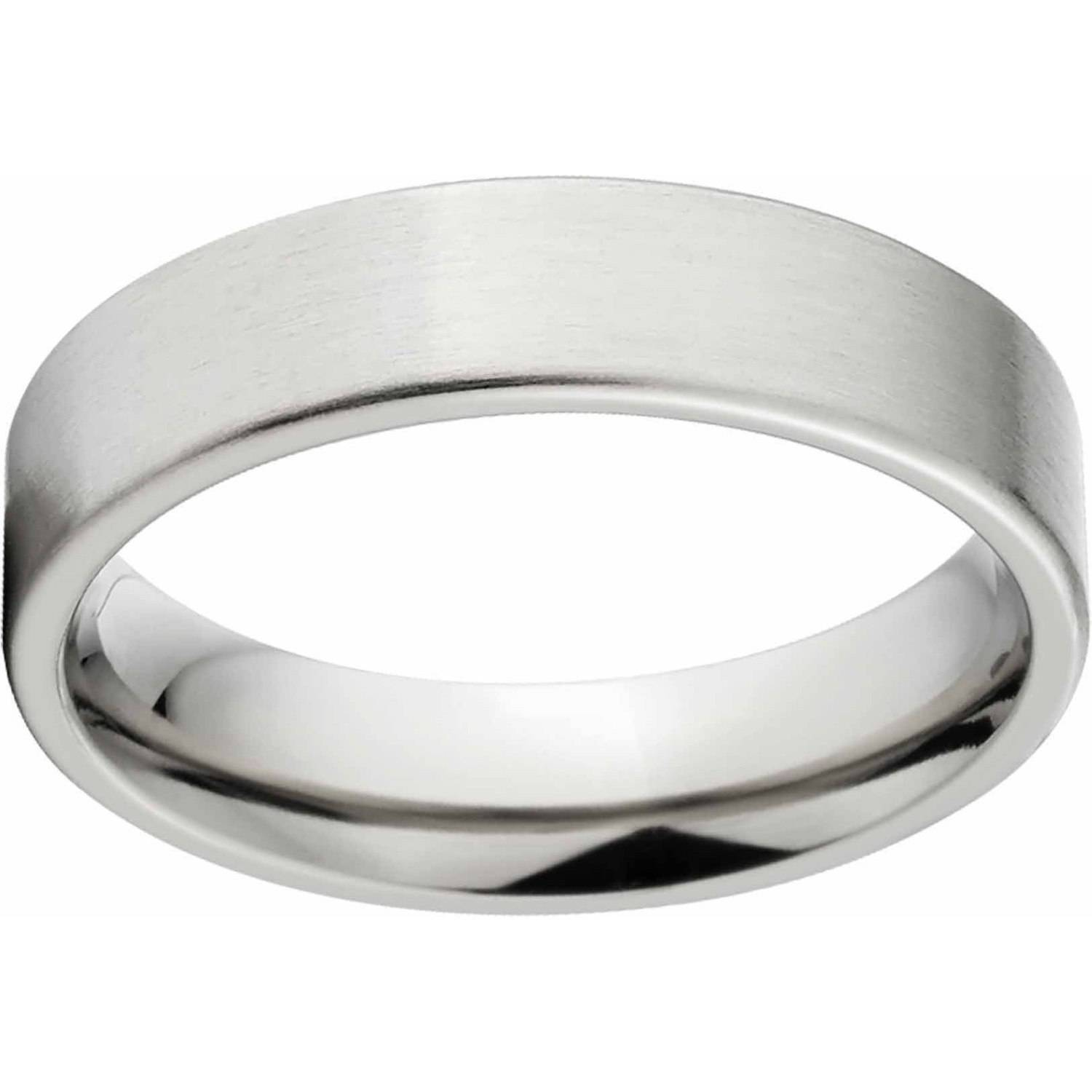 Brushed 5mm Titanium Wedding Band with fort Fit Design