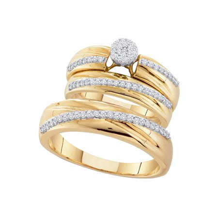 10kt Yellow Gold His & Hers Round Diamond Cluster Matching Bridal Wedding Ring Band Set (.38 cttw.)