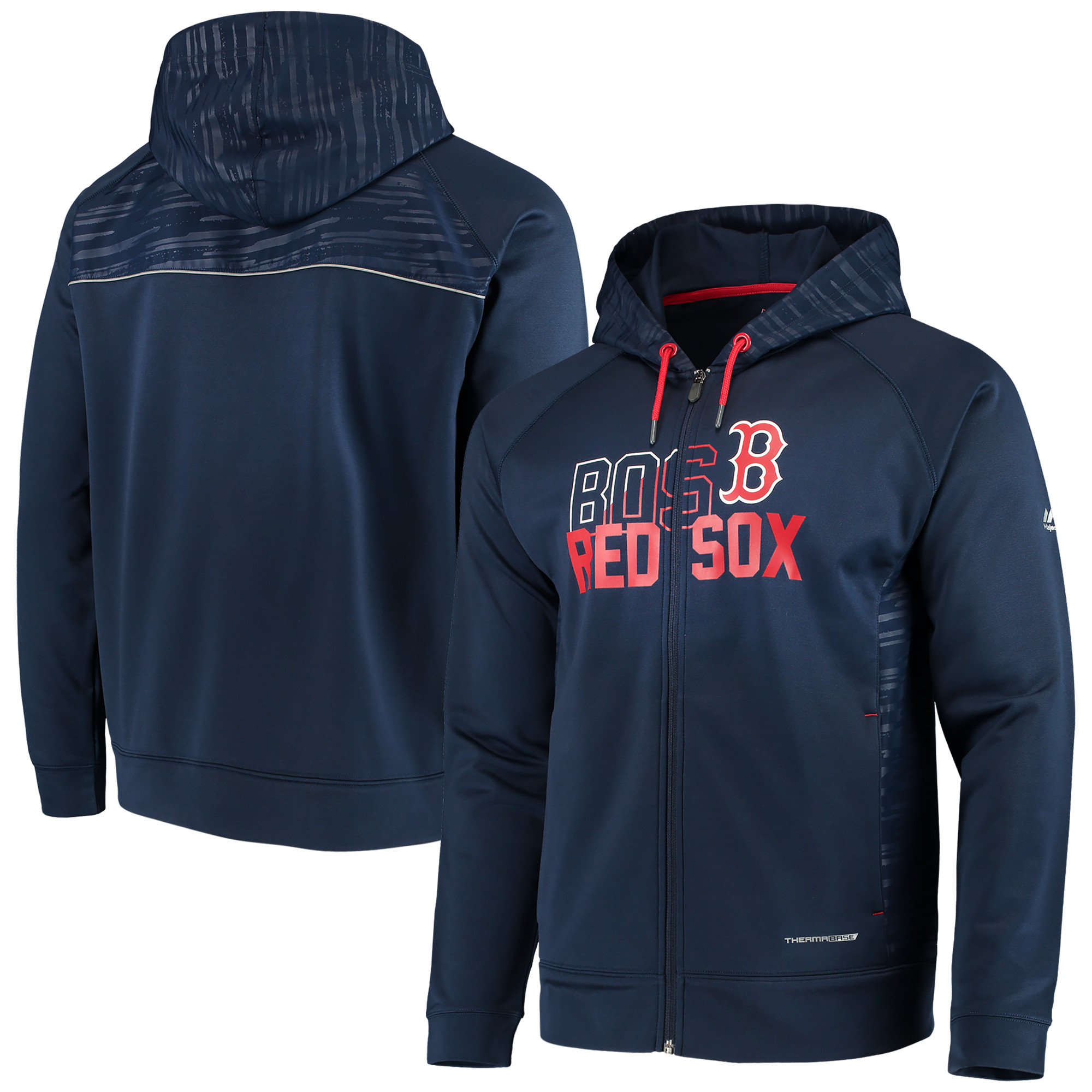 Boston Red Sox Majestic MLB Chin Music Full Zip Therma Base Hoodie - Navy