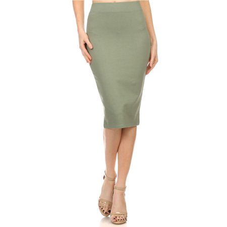 OFASHIONUSA Women's High Waist Band Bodycon Midi Stretchy Pencil Skirt (Green, - Green Hula Skirt