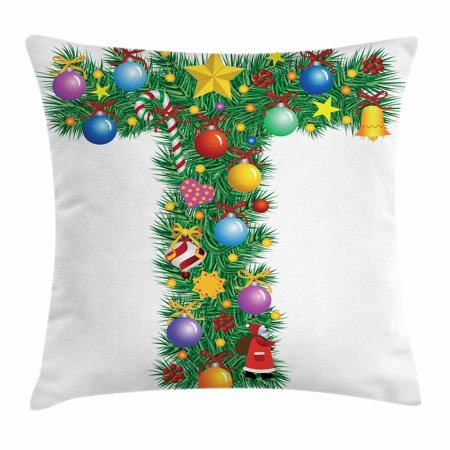 Letter T Throw Pillow Cushion Cover, Winter Season Celebration with Traditional Festivity Items Holiday Themed Image, Decorative Square Accent Pillow Case, 16 X 16 Inches, Multicolor, by Ambesonne](Winter Holiday Themes)