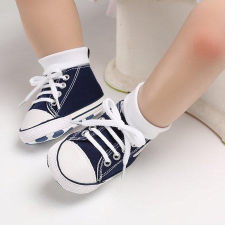 Newborn Baby Boys Girls Canvas Soft Sole Anti-slip Baby Shoes Walking Shoes - image 4 de 9