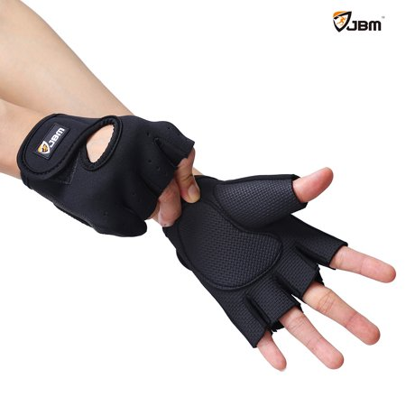 Fingerless Bike Gloves - JBM Cycling Gloves Mountain Bike Gloves Fingerless Hand Protector Safe Breathable Lightweight Comfortable Durable Cool (Black/S)