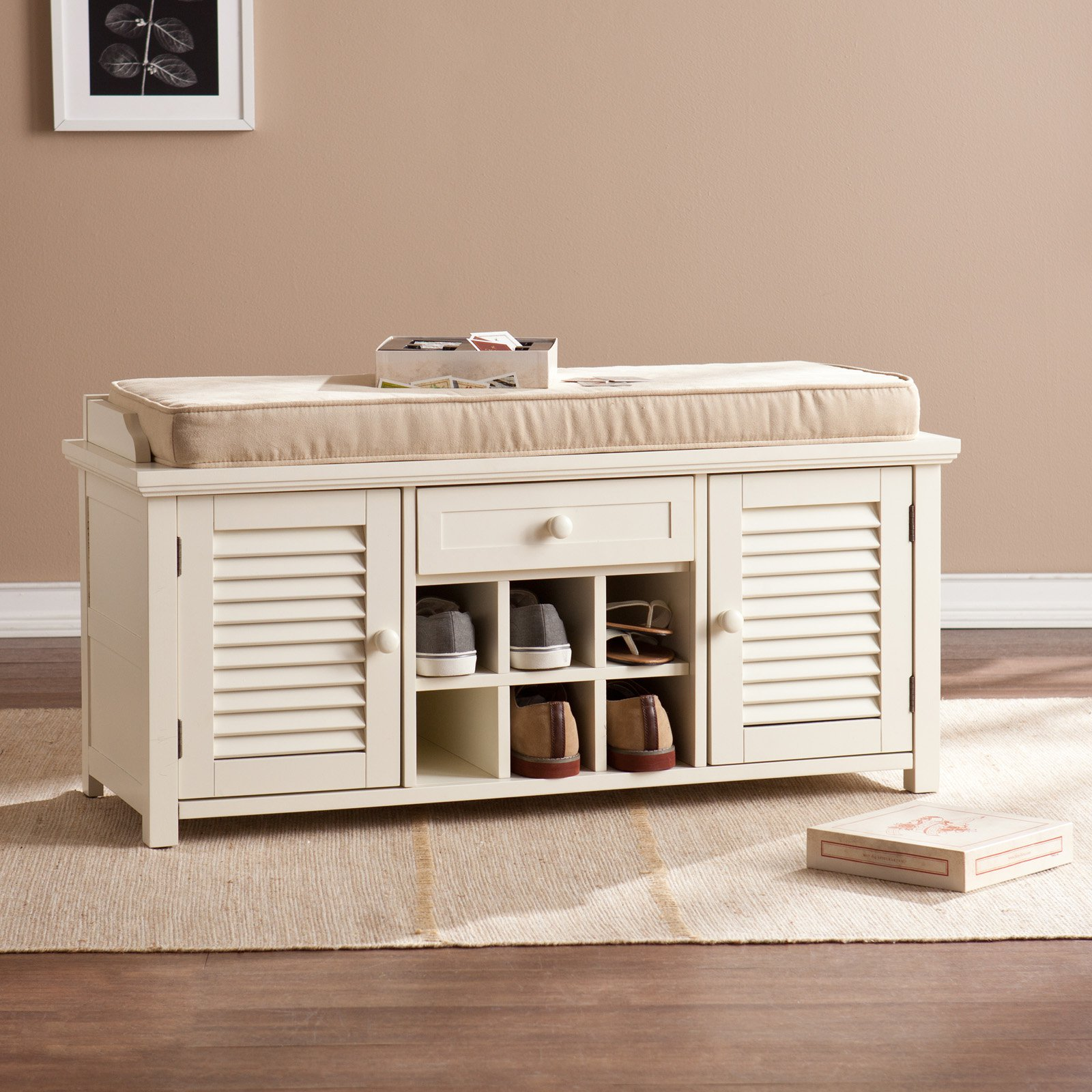 Southern Enterprises Antebellum Shoe Storage Bench   Antique White    Walmart.com