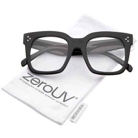 zeroUV - Oversize Wide Temple Flat Lens Horn Rimmed Square Glasses 51mm (Shiny Black / Clear) - 51mm Make a bold statement with these thick chunky glasses designed with a square frame with horn rimmed details and sleek flat lenses. Metal rivets at the temples and high sitting wide temples complete this standout style. Nerdy, yet chic, these must-have square glasses are perfect to wear to the office or classroom. Made with a plastic based frame, reinforced metal hinges, and polycarbonate UV400 clear lenses.