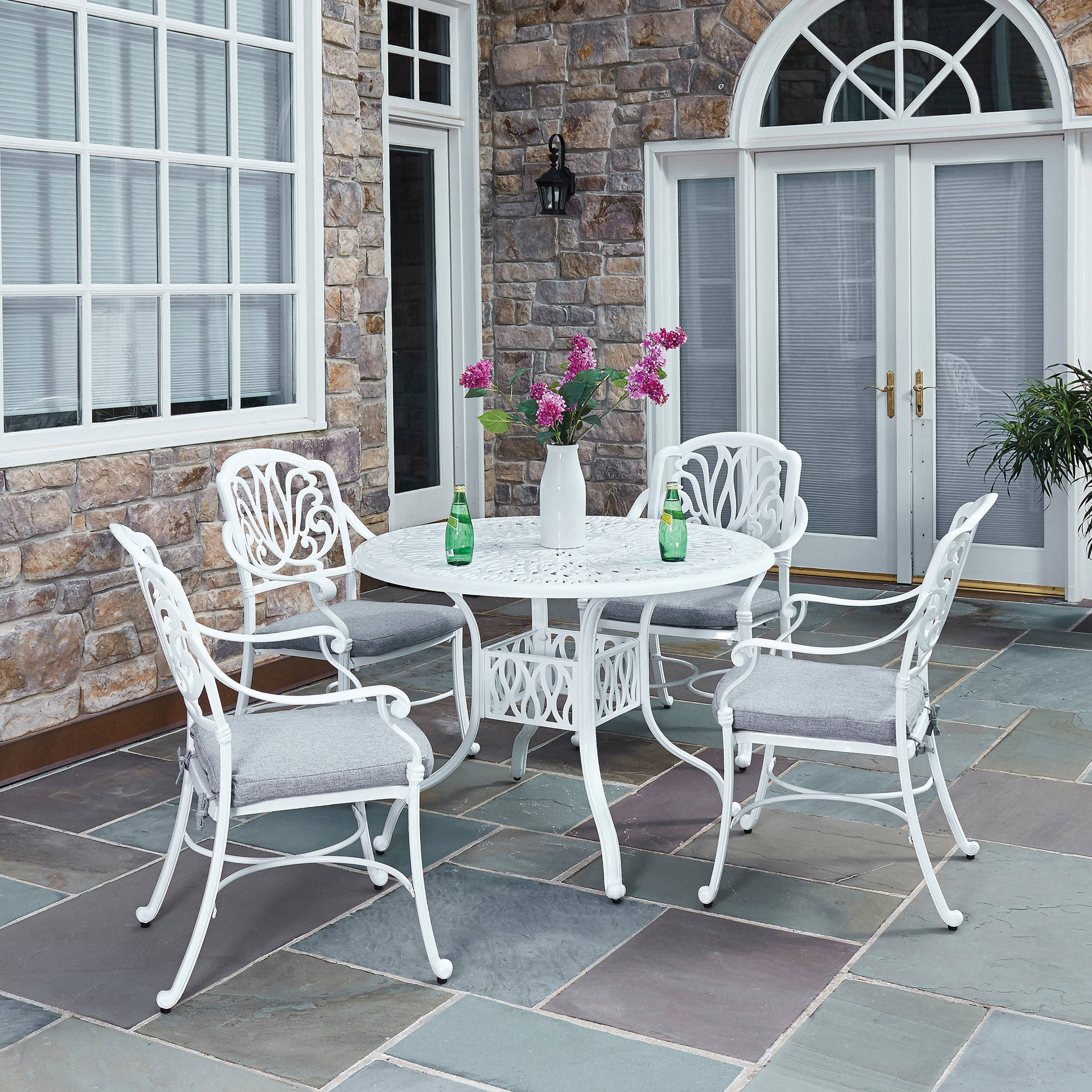 Floral Blossom 5-Pc Outdoor White Dining Set