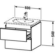 Duravit Vanity unit wall-mounted, 2 drawer, 21 1/2? x 23 5/8?, White Matt White Matt
