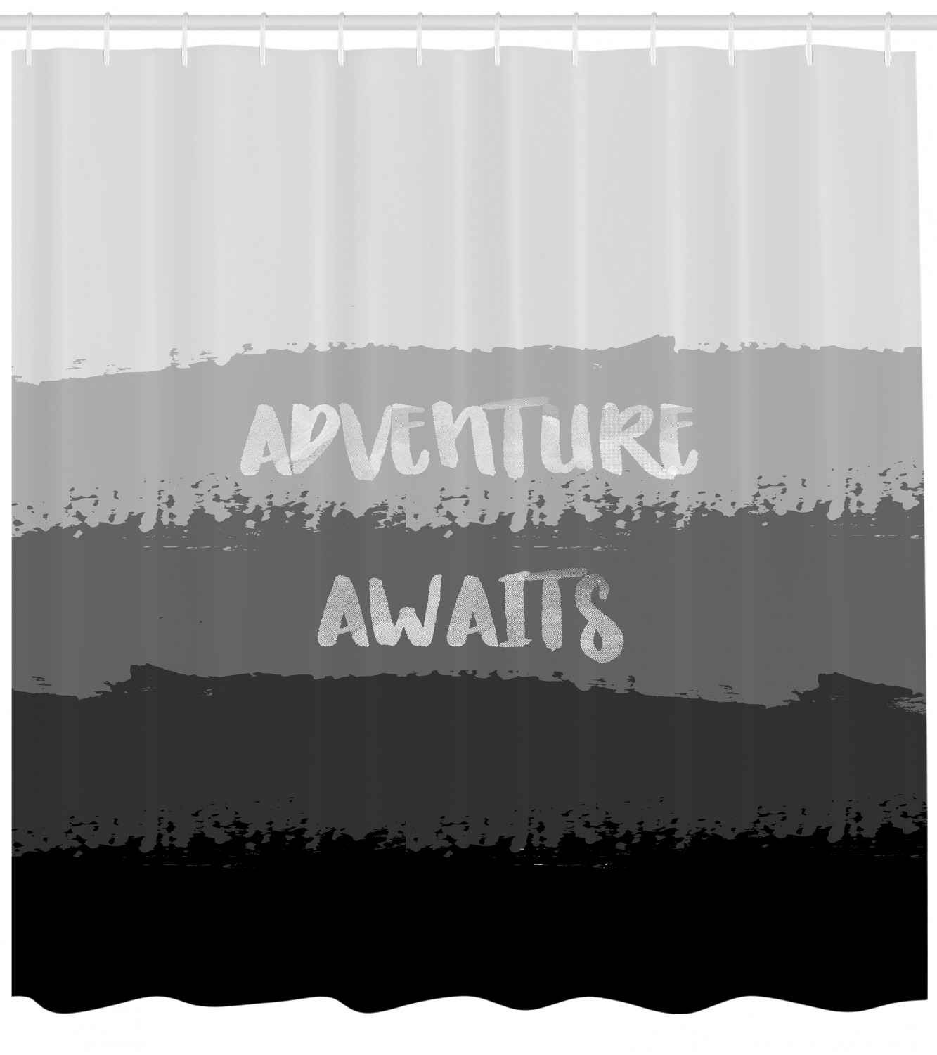 Adventure Awaits Shower Curtain Shades Of Grey Pattern Brush Stroke Horizontal Stripes With Quote Fabric Bathroom Set With Hooks 69w X 70l Inches