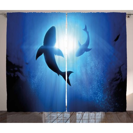 Shark Curtains 2 Panels Set, Underwater World with Fish Silhouettes Circling in the Sea Surreal Ocean Life Print, Window Drapes for Living Room Bedroom, 108W X 96L Inches, Royal Blue, by Ambesonne