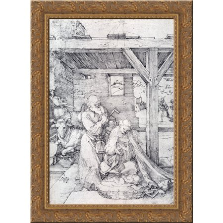 The Nativity: Adoration Of The Christ Child In The Stables with The Virgin And St. Joseph 19x24 Gold Ornate Wood Framed Canvas Art by Durer, Albrecht ()