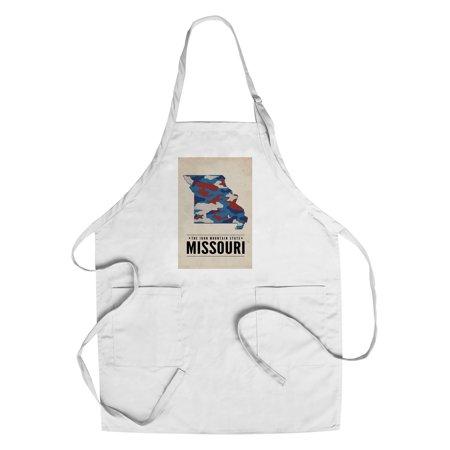 Missouri   The Iron Mountain State   Camo State   Lantern Press Poster  Cotton Polyester Chefs Apron