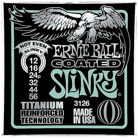 Ernie Ball 3126 Coated Titanium Not Even Slinky Electric Guitar Strings (12-56)
