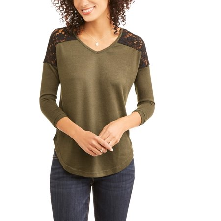 Women's Long Sleeve V-Neck Textured Knit Lace Inset T-Shirt