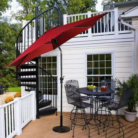 10ft Patio Umbrella 6 Ribs Market Steel Tilt W Crank Outdoor Garden