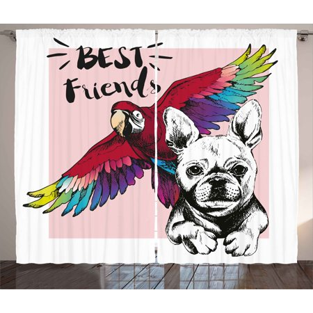 Modern Curtains 2 Panels Set, French Bulldog and Tropical Parrot Figure with Best Friends Phrase Portrait Design, Window Drapes for Living Room Bedroom, 108W X 84L Inches, Multicolor, by