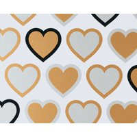 American Greetings Gold Hearts Wrapping Paper Sheet, 2.5ft x 3.3ft
