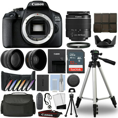 Canon EOS 2000D / Rebel T7 DSLR Camera + 18-55mm 3 Lens Kit+ 32GB Best Value