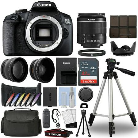 Canon EOS 2000D / Rebel T7 DSLR Camera + 18-55mm 3 Lens Kit+ 32GB Best Value (Best Rated Canon Dslr)
