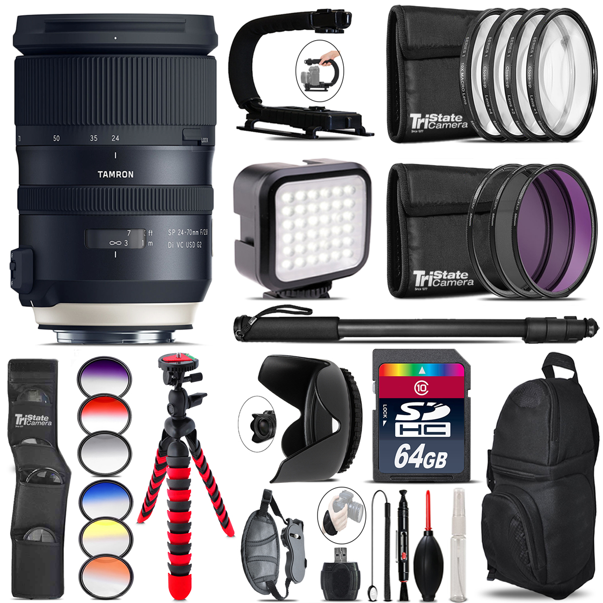 Tamron 24-70mm VC G2 for Nikon Video Kit + Color Filter 64GB Accessory Kit by TriStateCamera