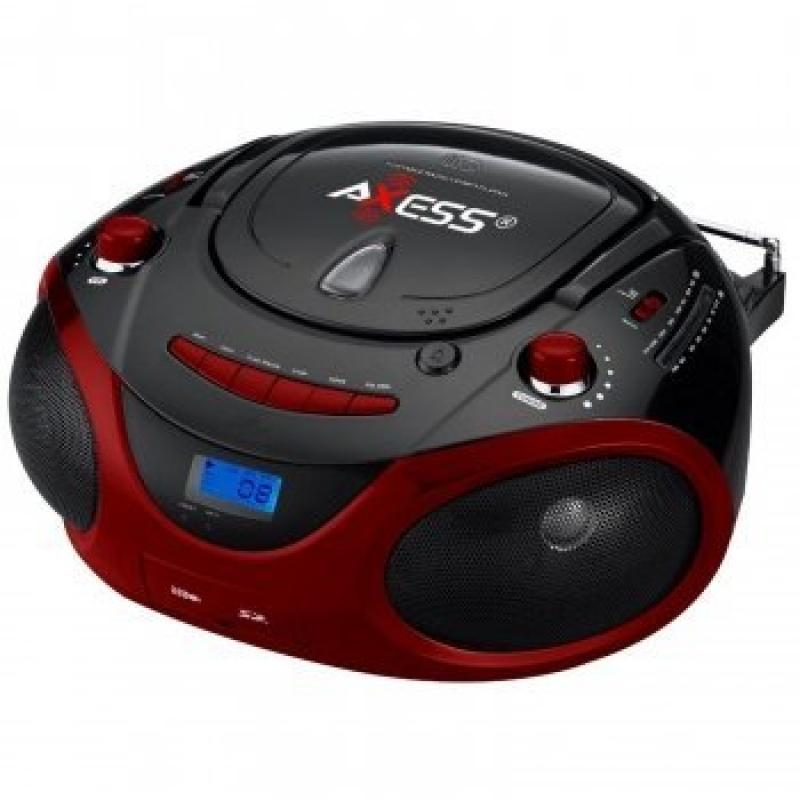 Axess Red Portable Boombox MP3/CD Player with Text Displa...