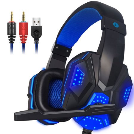 Game Headset, EEEKit 3.5mm Wired LED Light Stereo Gaming Headphones with Adjustable Microphone Headband for PS4 Xbox one PC