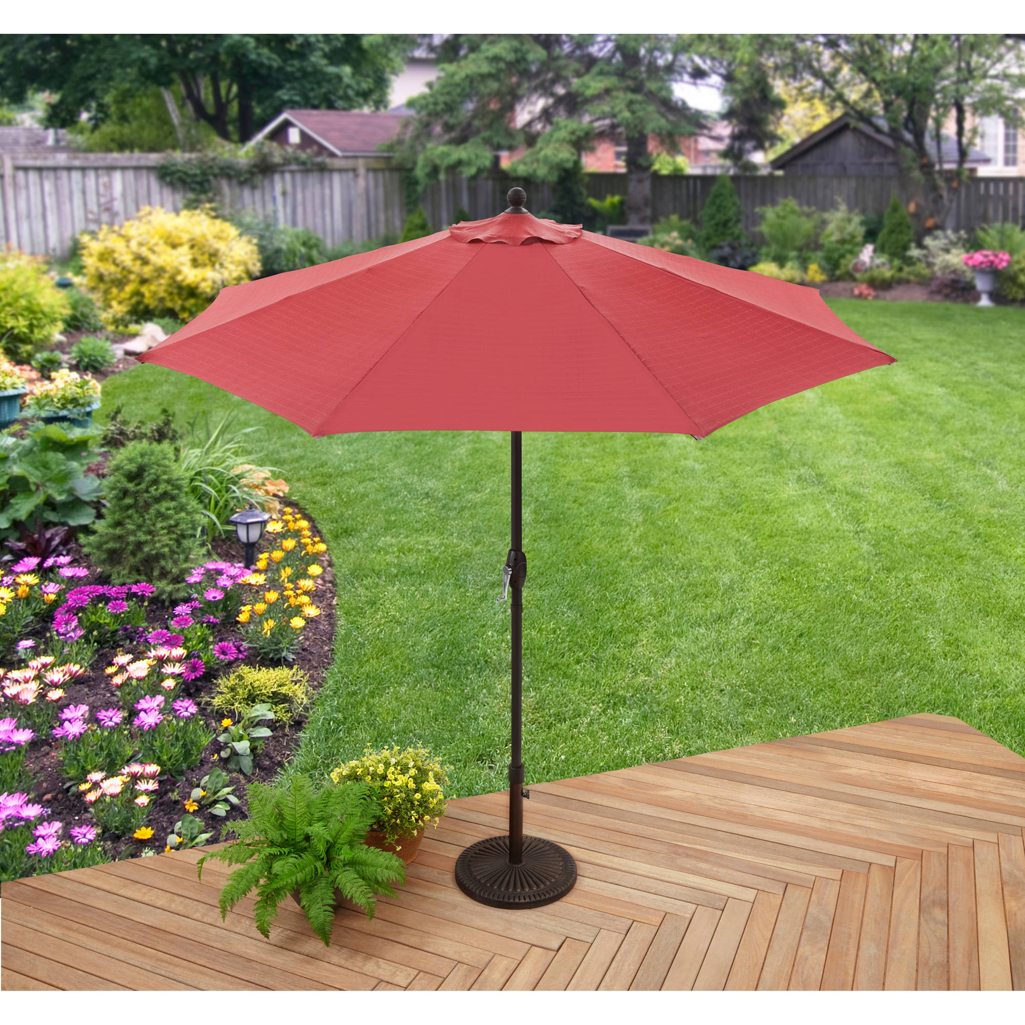 Better Homes And Gardens 9u0027 Market Umbrella, Red   Walmart.com