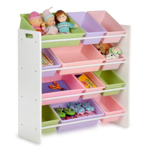Best Choice Products Toy Bin Organizer Kids Childrens Storage Box Playroom  Bedroom Shelf Drawer   Pastel Colors   Walmart.com