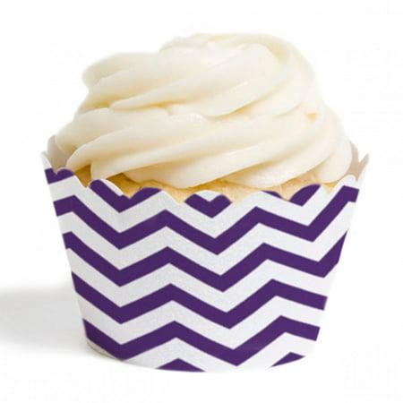 Dress My Cupcake Standard Cupcake Wrappers, Chevron, Royal Purple, Set of 12