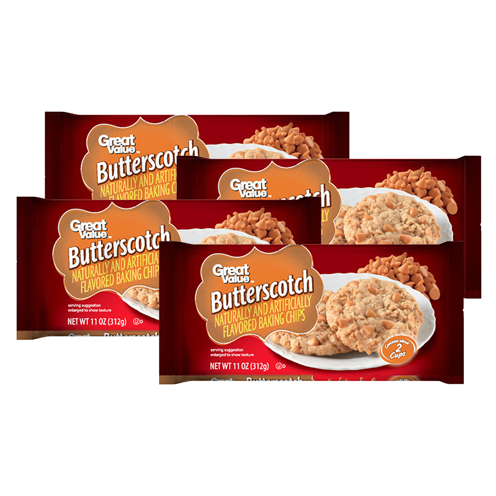 Great Value Baking Chips, Butterscotch, 11 Oz (Pack of 4)