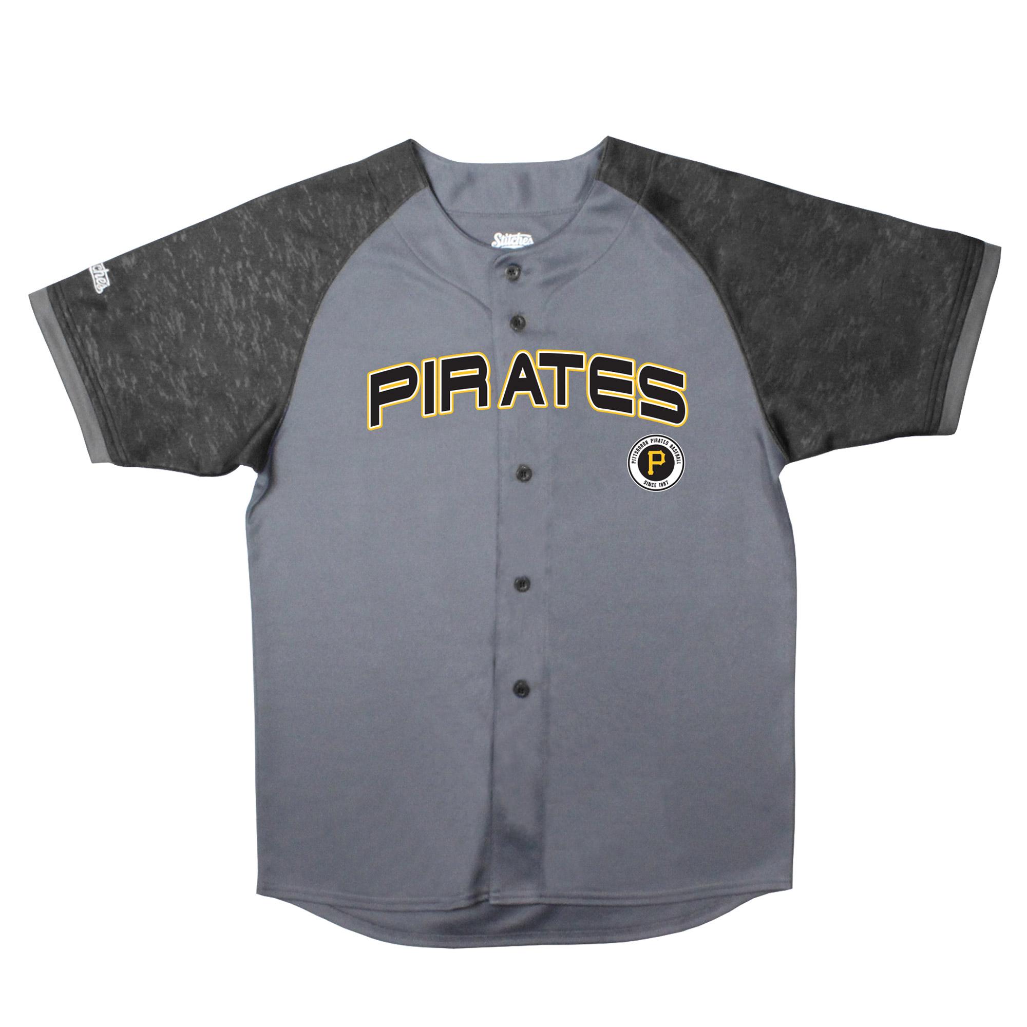 Pittsburgh Pirates Stitches Youth Glitch Jersey - Charcoal/Black