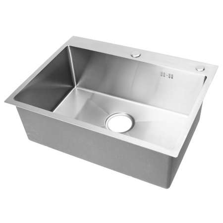 3 Satin Single Basin (Meigar 23.62'' 304 Stainless Steel Handmade Top Mount Drop-in Single Bowl Basin Sink Kitchen Laundry Bathroom)