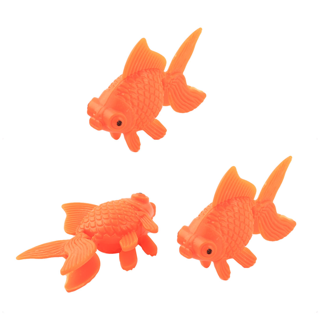 Aquarium Fish Bowl Tank Plastic Decor Goldfish Ornament Orange 3pcs