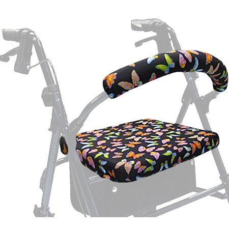 Gel Rollator Handle Covers - Crutcheze Butterfly Rollator Walker Seat and Backrest Covers Designer Fashion Accessories Made in USA