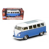 1962 Volkswagen Classical Bus Low Rider Blue 1/24 Diecast Car Model by Welly