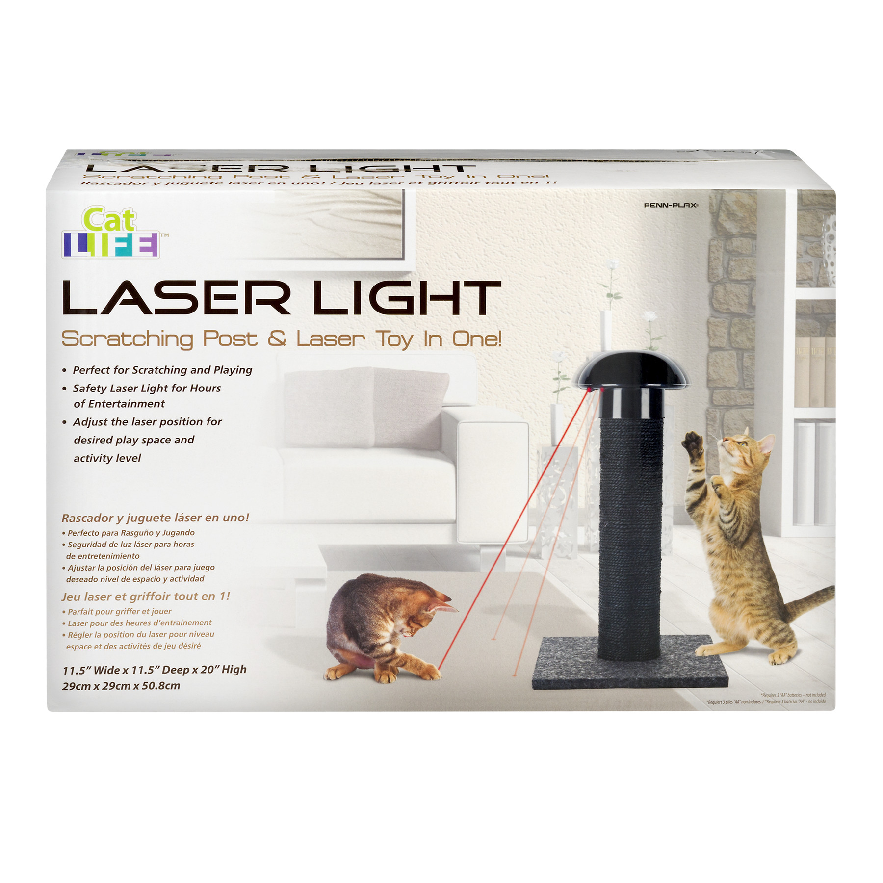 Penn-Plax Cat Life Laser Light Scratching Post & Laser Toy, 1.0 CT