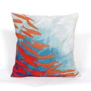 """Visions III School Of Fish Pillow-Color:Aqua Blue,Size:20""""Lx20""""Wx""""H"""