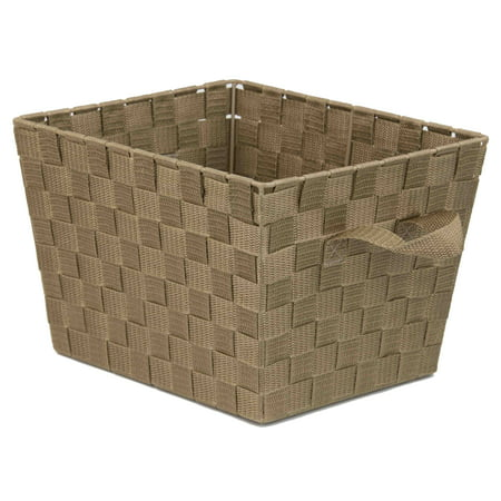 Home Basics X-Large Polyester Woven Strap Open Bin, Tan