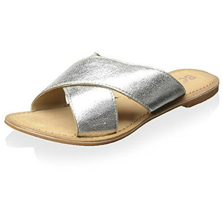 BC Footwear Women's Dear Metallic Slide, Silver Metallic, 8 M US
