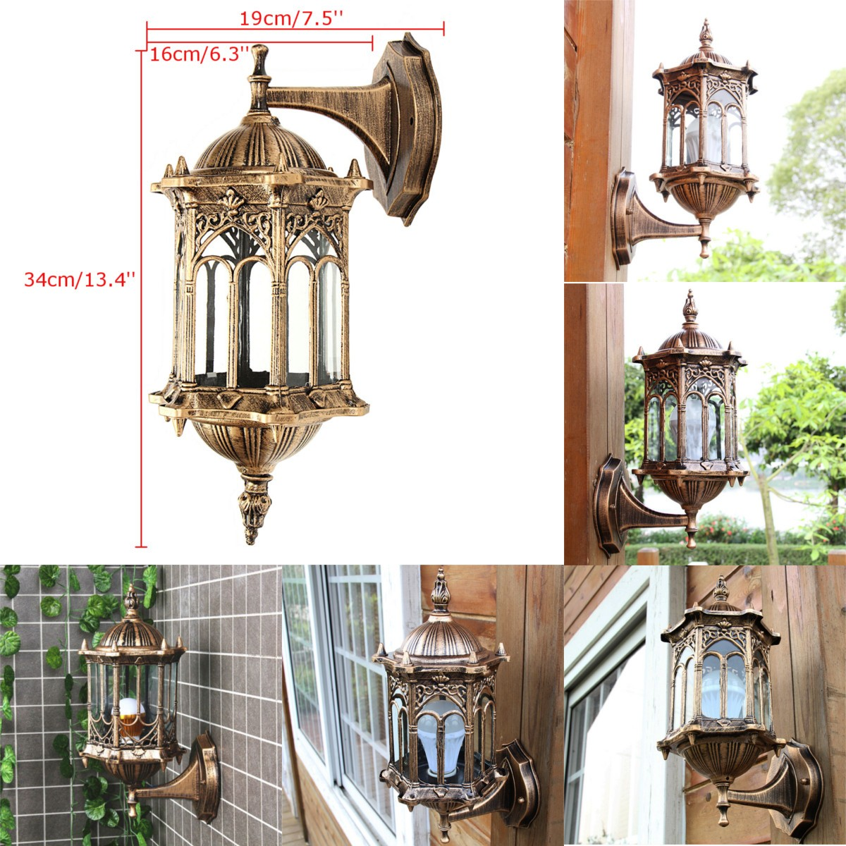 E27 Antique Wall Light Lamp Lantern Sconce Porch Lighting Exterior Fixture Outdoor