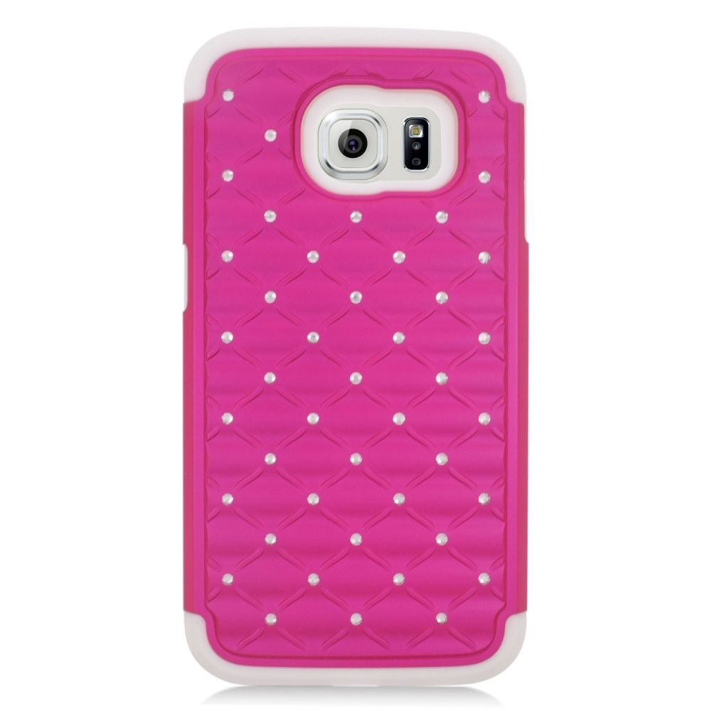 Insten Hard Hybrid Silicone Case For Samsung Galaxy S6 - Hot Pink/White - image 2 of 3
