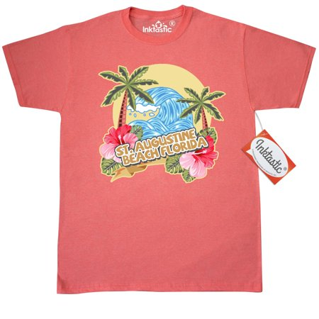 Inktastic Spring Break With Ocean Wave Palm Trees St. Augustine Beach T-Shirt Vacation Sea Hibiscus Flower St. Florida Mens Adult Clothing Apparel Tees T-shirts